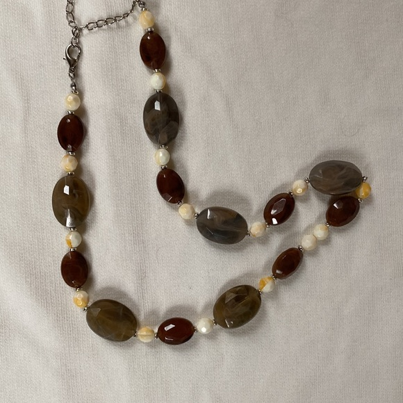 Necklace with faux stones